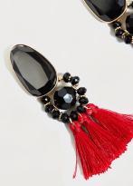 MANGO - Boucles d'oreilles pendantes pompons